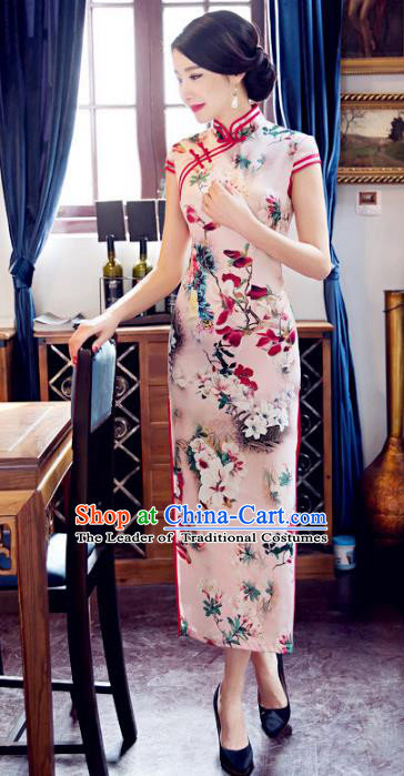 Top Grade Chinese Elegant Silk Cheongsam Traditional China Tang Suit Printing Pink Qipao Dress for Women