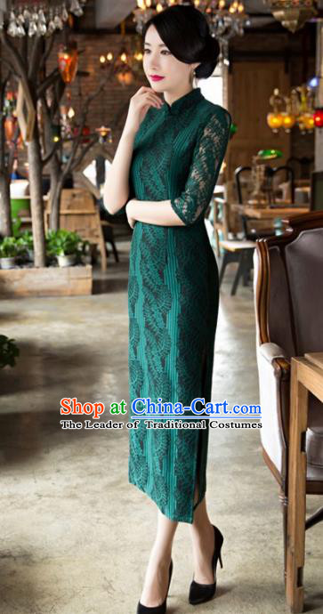 Top Grade Chinese Elegant Cheongsam Traditional China Green Lace Tang Suit Qipao Dress for Women