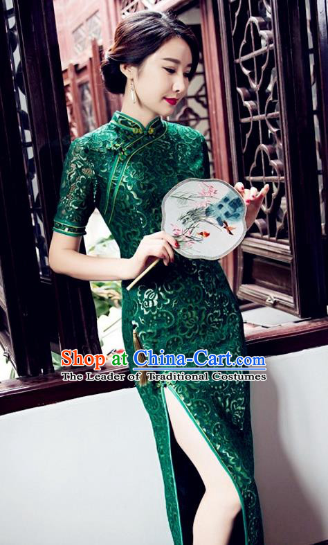 Top Grade Chinese Elegant Green Cheongsam Traditional China Tang Suit Qipao Dress for Women