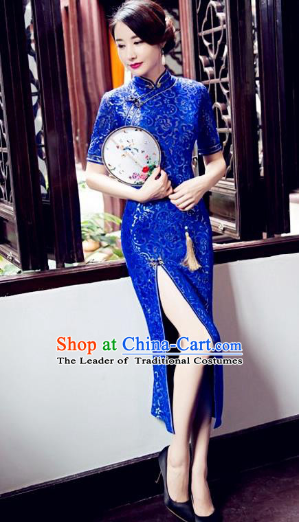 Top Grade Chinese Elegant Blue Cheongsam Traditional China Tang Suit Qipao Dress for Women