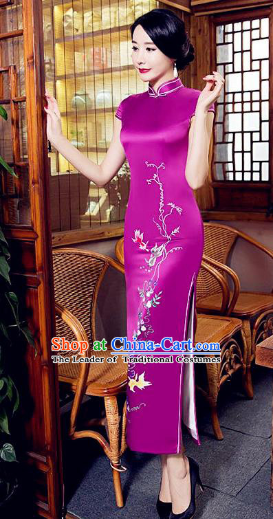 Chinese Top Grade Elegant Cheongsam Traditional Republic of China Tang Suit Purple Silk Qipao Dress for Women