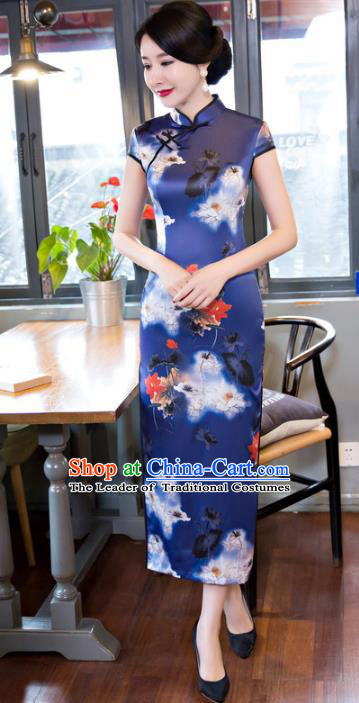 Top Grade Chinese Elegant Printing Lotus Cheongsam Traditional Republic of China Tang Suit Blue Silk Qipao Dress for Women