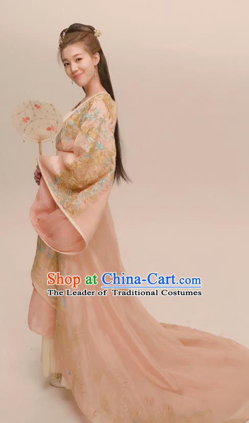 Chinese Ancient Tang Dynasty Palace Lady Hanfu Dress Princess Consort Embroidered Replica Costume for Women