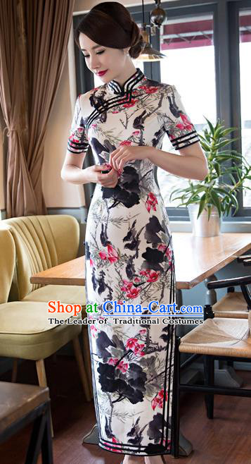 Top Grade Chinese Elegant Ink Painting Lotus Cheongsam Traditional China Tang Suit Qipao Dress for Women