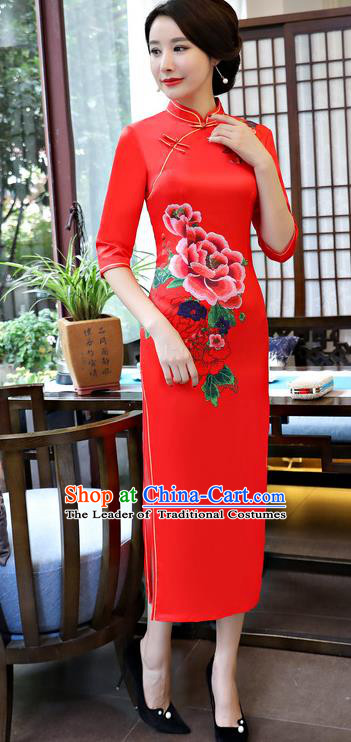 Traditional Top Grade Chinese Elegant Printing Peony Cheongsam China Tang Suit Red Qipao Dress for Women