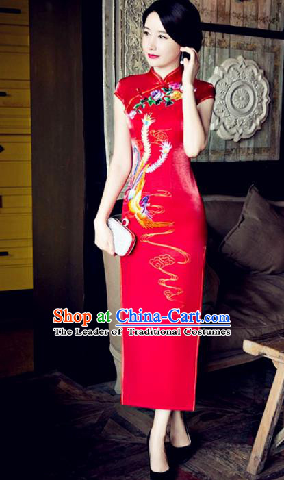 Traditional Top Grade Chinese Elegant Printing Phoenix Red Cheongsam China Tang Suit Qipao Dress for Women