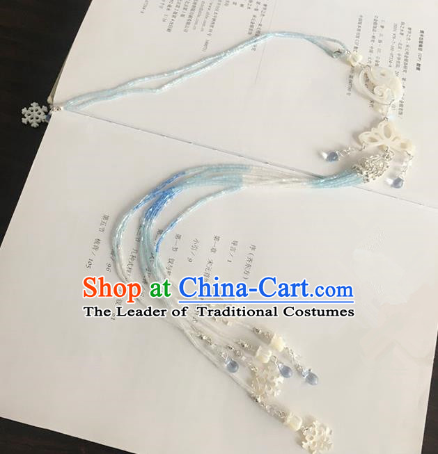 Traditional Handmade Chinese Ancient Classical Accessories Tassel Jade Pendant for Women