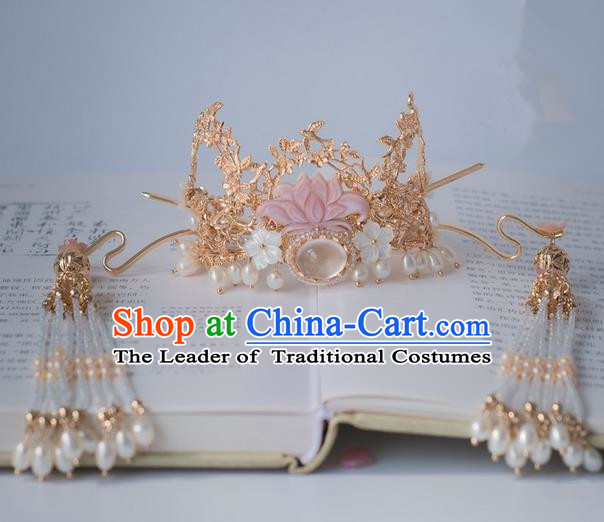 Traditional Handmade Chinese Ancient Classical Hair Accessories Phoenix Coronet Hairpins Tassel Hair Clips for Women