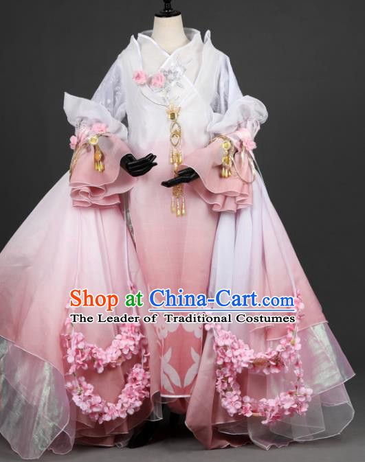 Chinese Ancient Young Lady Costume Cosplay Female Knight-errant Pink Dress Hanfu Clothing for Women
