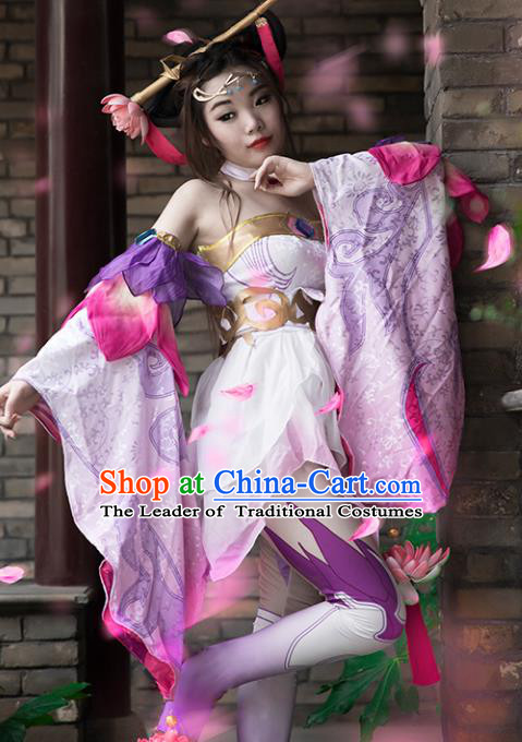 Chinese Ancient Heroine Costume Cosplay Diau Charn Swordswoman Pink Dress Hanfu Clothing for Women