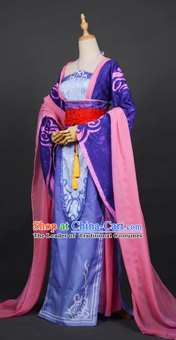 Chinese Ancient Princess Purple Costume Cosplay Swordswoman Dress Hanfu Clothing for Women