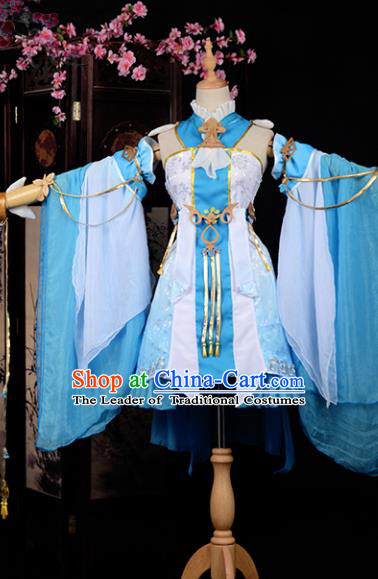 Chinese Ancient Princess Young Lady Costume Cosplay Swordswoman Blue Dress Hanfu Clothing for Women