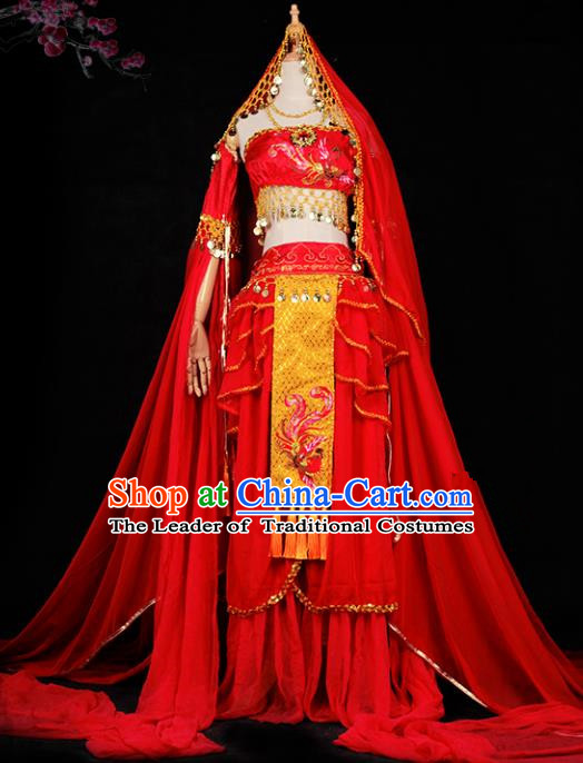 Chinese Ancient Young Lady Swordswoman Wedding Costume Cosplay Princess Red Dress Hanfu Clothing for Women