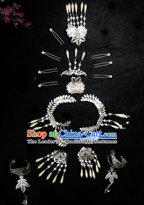 Traditional Handmade Chinese Hair Accessories Ancient Swordswoman Hairpins Headwear Complete Set for Women