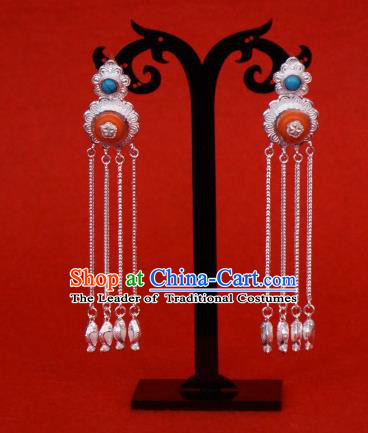 Chinese Traditional Zang Nationality Blue Earrings Accessories, China Tibetan Ethnic Silver Tassel Eardrop for Women