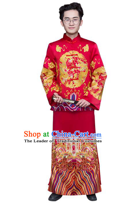 Chinese Traditional Wedding Toast Costume Ancient Bridegroom Embroidered Tang Suit Clothing for Men
