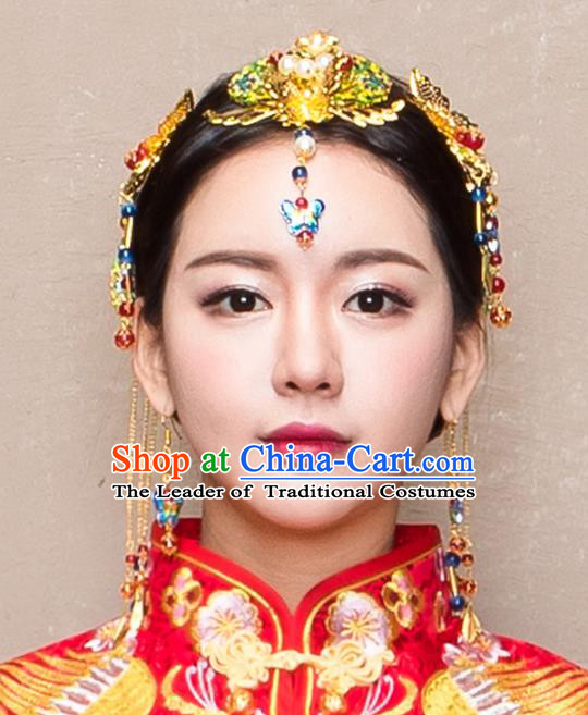 Chinese Traditional Handmade Wedding Blueing Butterfly Hair Accessories, China Ancient Bride Phoenix Coronet Hairpins for Women