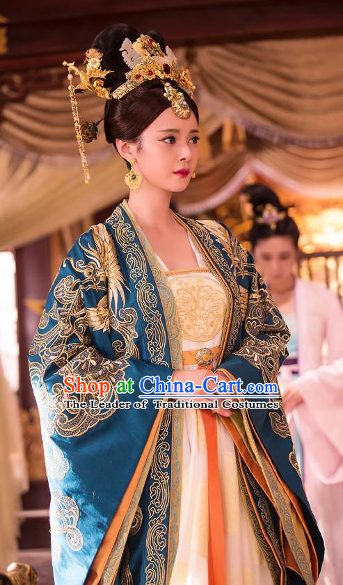 Chinese Ancient Empress Hanfu Dress Northern and Southern Dynasties Palace Queen Embroidered Replica Costumes and Headpiece Complete Set