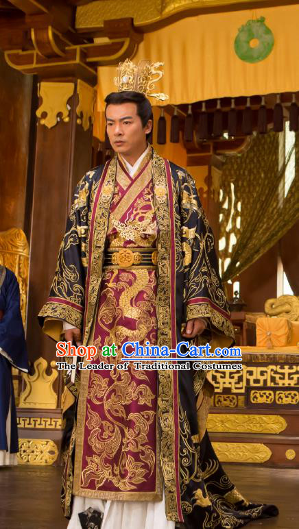 Chinese Ancient Emperor Costume Northern and Southern Dynasties Monarch Replica Costumes for Men