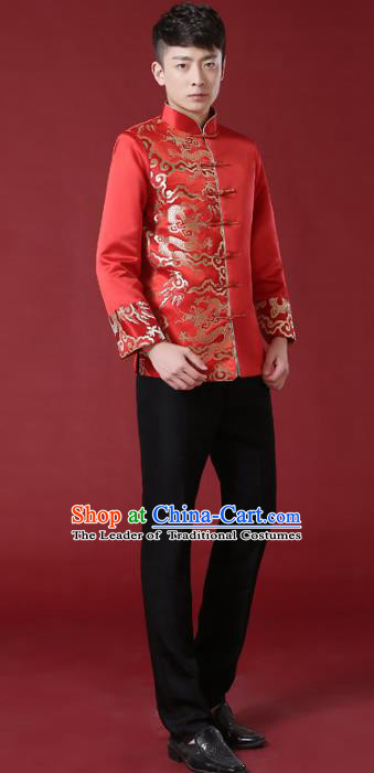 Chinese Traditional Wedding Embroidered Costume Ancient Bridegroom Xiuhe Suit Tang Suit Clothing for Men