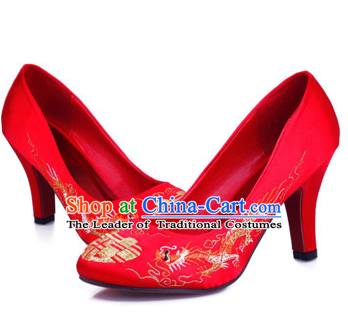 Chinese Traditional Handmade Wedding Embroidered Shoes Bride Red High-heeled Shoes for Women