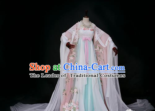 Chinese Traditional Palace Princess Costume Ancient Imperial Concubine Embroidered Hanfu Dress for Women