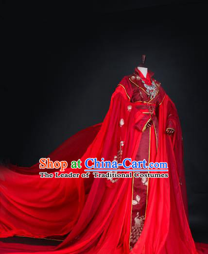 Chinese Ancient Queen Red Hanfu Dress Tang Dynasty Imperial Empress Wedding Embroidered Costume for Women