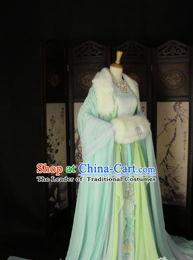 Chinese Ancient Imperial Concubine Green Hanfu Dress Tang Dynasty Imperial Consort Embroidered Costume for Women