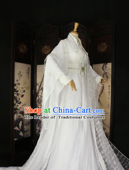 Chinese Ancient Knight-errant Royal Highness Embroidered Costume Swordsman White Clothing for Men
