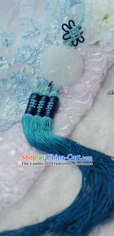Chinese Traditional Handmade Waist Accessories Ancient Princess Blue Tassel Jade Pendant for Women
