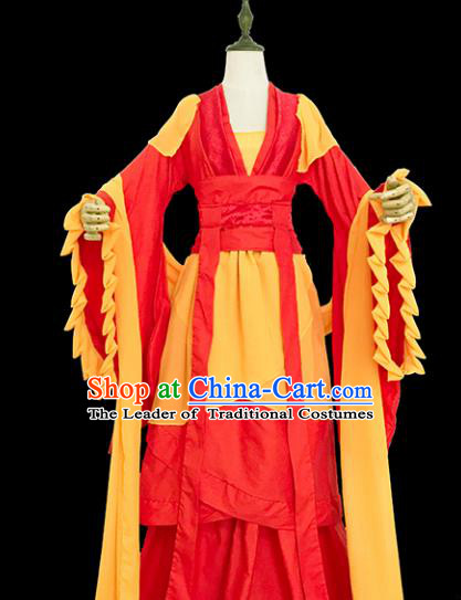 Chinese Ancient Cosplay Swordswoman Red Hanfu Dress Tang Dynasty Female Knight-errant Costume for Women
