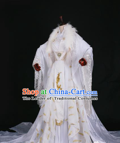 Traditional Chinese Princess Embroidered Costume Ancient Han Dynasty Imperial Concubine White Hanfu Dress for Women
