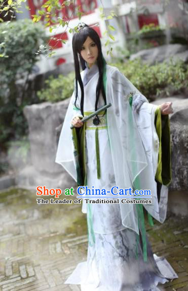 Chinese Ancient Nobility Childe Costume Cosplay Swordsman Clothing Jin Dynasty Knight Hanfu for Men