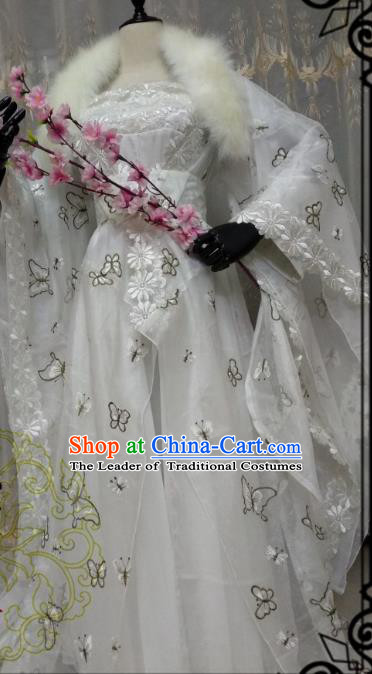 Chinese Ancient Court Princess Costume Cosplay Swordswoman Clothing Tang Dynasty Palace Lady White Hanfu Dress for Women
