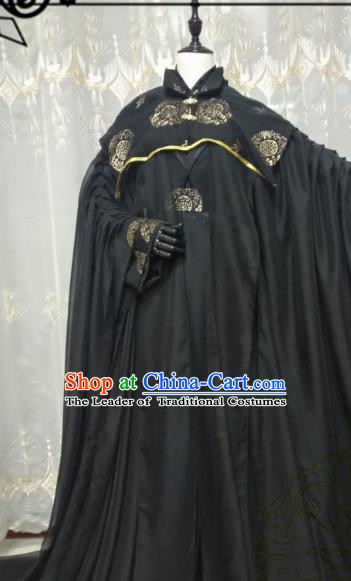 Chinese Ancient Nobility Childe Knight Black Costume Cosplay Swordsman Royal Highness Clothing for Men