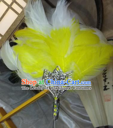 Chinese Traditional Handmade Feather Fans Military Counsellor Fans for Men