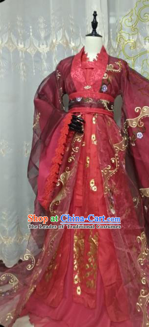 Chinese Ancient Princess Red Costume Cosplay Swordswoman Clothing Han Dynasty Imperial Concubine Hanfu Dress for Women