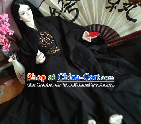 Chinese Ancient Nobility Childe Prince Black Costume Cosplay Swordsman Royal Highness Clothing for Men