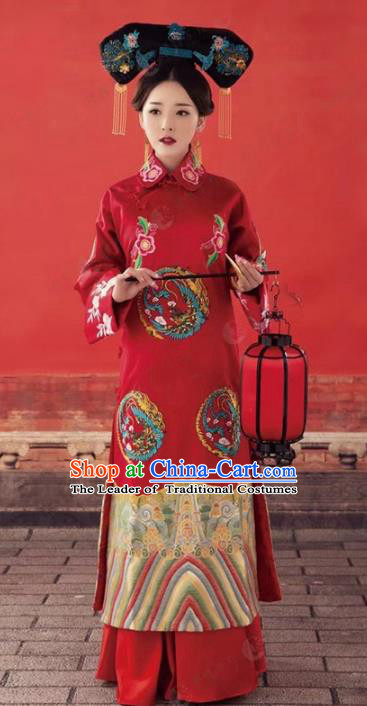 Traditional Chinese Ancient Imperial Concubine Dress Qing Dynasty Princess Embroidered Costume and Headpiece for Women