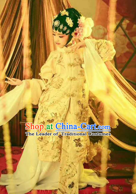 Chinese Ancient Princess Embroidered Costume Beijing Opera Actress Hanfu Dress and Headpiece for Kids