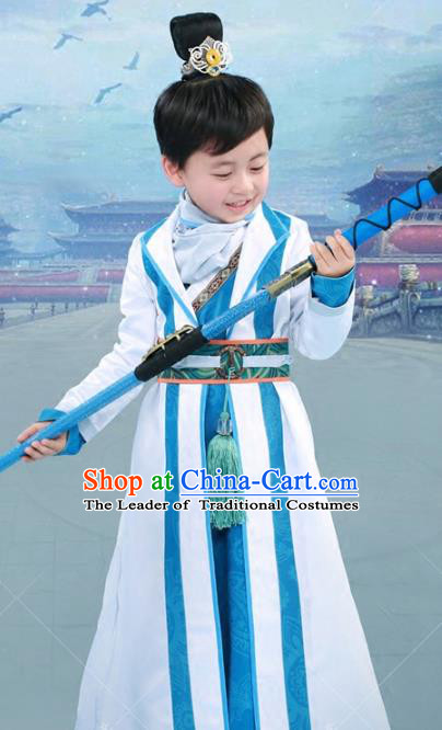 Chinese Ancient Swordsman Embroidered Costume Han Dynasty Scholar Clothing for Kids