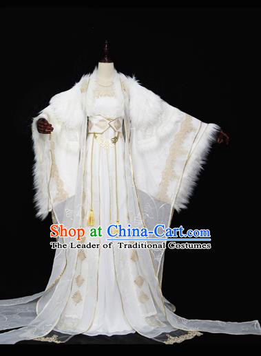 Chinese Ancient Cosplay Queen Costume Tang Dynasty Empress Embroidered Hanfu Dress for Women