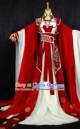 Chinese Ancient Cosplay Swordswoman Wedding Costume Han Dynasty Queen Embroidered Hanfu Dress for Women