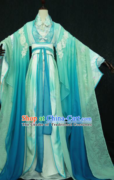 Chinese Ancient Cosplay Imperial Consort Green Costume Han Dynasty Queen Embroidered Hanfu Dress for Women