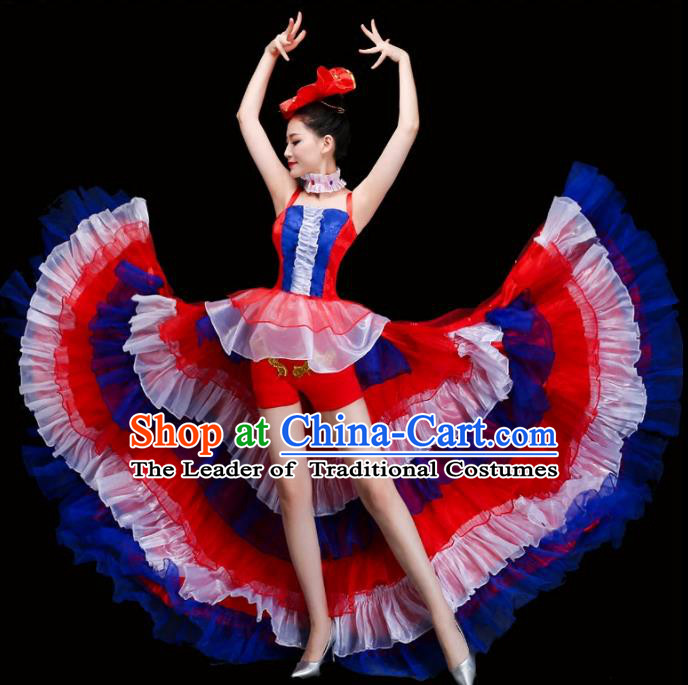 Top Grade Stage Performance Spanish Dance Costume Opening Modern Dance Clothing and Headpiece for Women
