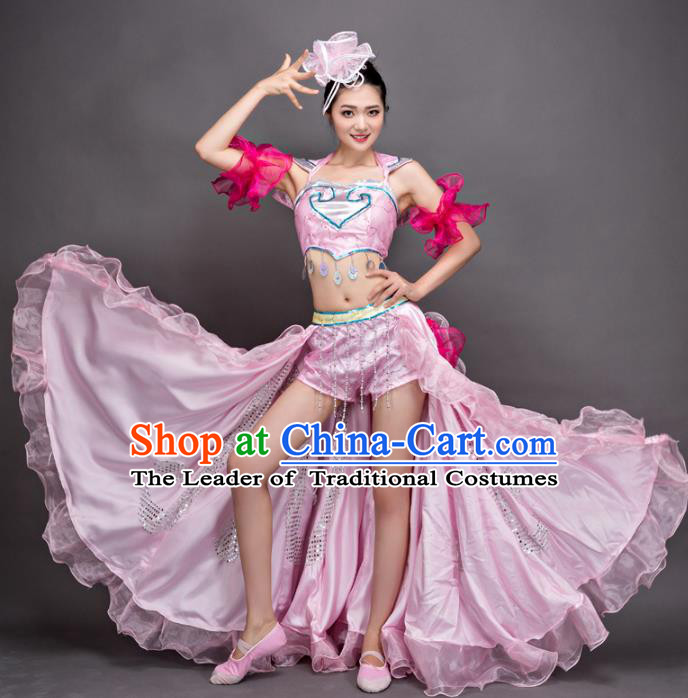 Top Grade Stage Performance Dance Costume Opening Modern Dance Pink Dress and Headpiece for Women