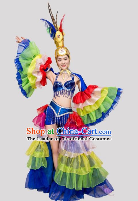 Top Grade Stage Performance Costume Opening Modern Dance Dress and Headpiece for Women