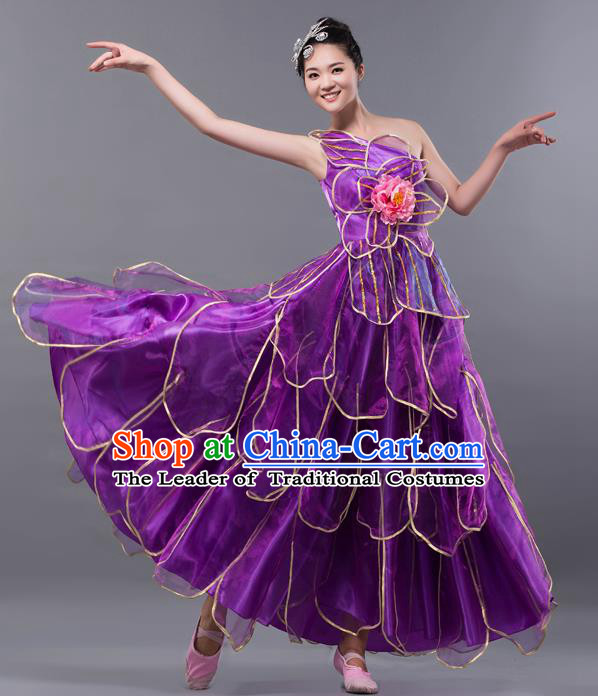 Top Grade Stage Performance Costume Chorus Singing Group Opening Modern Dance Purple Bubble Dress for Women