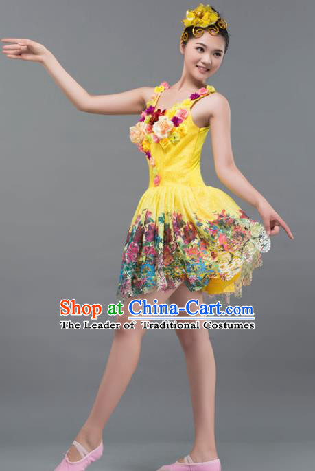 Top Grade Stage Performance Costume Chorus Modern Dance Yellow Bubble Dress for Women