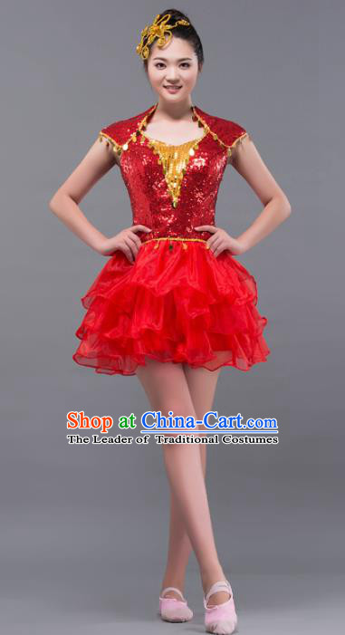 Top Grade Stage Performance Costume Chorus Modern Dance Red Bubble Dress for Women